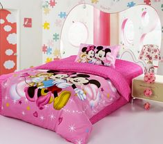 Mickey And Minnie Light Red Disney Bedding Sets