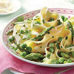 Creamy Pancetta, Asparagus, Herb, and Pea Pasta