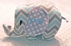 Baby Boy Light Blue and Gray Chevron and Polka Dots Stuff Elephant on Etsy, $28.50
