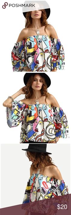 Offshoulder printed cute loose crop top Printed faces offshoulder loose blouse crop top. Elastic shoulders and it's one size so it fit me (wear S) and my friend who wears medium as well. It says one size. Worn twice and got tons of compliments. In great condition Tops Crop Tops