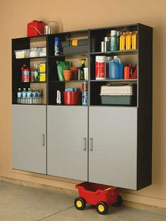 Garage Cabinet Black, Appliance Garage Kitchen Cabinet, Increase Your Available Space With Garage Cabinets and Other Home Storage Ideas With Shelves. Garage Wall Shelving, Garage Storage Racks, Garage Storage Cabinets, Garage Storage Solutions, Garage Organization, Storage Systems, Bike Storage, Shelves, Garage Attic