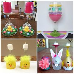 Easter Wine Glass Centerpieces