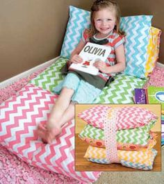 •❈• The Bundle Bed -- Uses 5 standard size pillows ... SEW much fun for sleepovers ... Easy to make and oh so comfy!