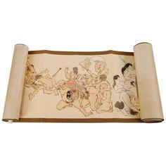 Antique Japanese Erotic Makimono, Long Hand Scroll, circa Early 20th Century