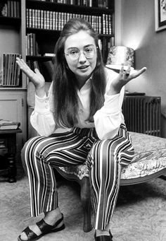 Young Hilary Clinton...enthused, engaged. in action.