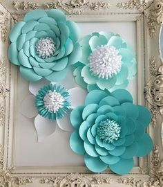 Items similar to Large Paper Extra Large Paper Flower Photo Prop Backdrop Set of 4 Aqua & White Flower Wedding Nursery Decor RESERVED on Etsy Large Paper Flowers, Paper Flower Wall, Giant Paper Flowers, Paper Flower Backdrop, Big Flowers, Diy And Crafts, Paper Crafts, Backdrop Decorations, Paper Flower Tutorial