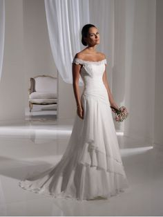 Chiffon Scooped Off-The-Shoulder Lace Neckline Directionally Ruched Bodice A-line Wedding Dress