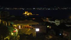 Fortress in by night. This is the view from Pension Marianna on the hill of - Neoclassical, Greece Travel, Old Town, Terrace, Old Things, Island, Traditional, Mansions, History