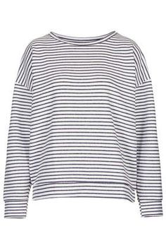 Stripe Ribbed Sweat by Boutique - Tops - Clothing