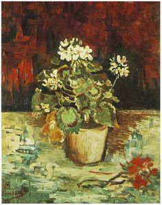 Vincent van Gogh, Geranium in a Pot, 1886 (Paris, France). Oil on canvas. Private Collection.  via Van Gogh Gallery