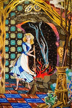 Cinderella castle mosaic walls were designed by Imagineer Dorothea Redmond. Each of the five contain hundreds of thousands of pieces of glass fused together with silver and 14-carat gold. The mosaics feature more than 500 colors.