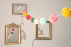 pom pom garland (spring colors)this is cool and sweet. I make pillows with pom poms. Pom Pom Rug, Pom Pom Garland, Tassle Garland, Diy And Crafts, Arts And Crafts, Colorful Candy, Spring Colors, Party Time, Birthday Parties