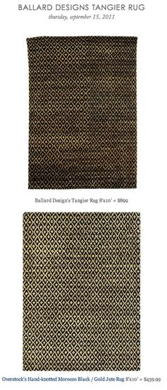 COPY CAT CHIC FIND: Ballard Design's Tangier Rug VS Overstock's Hand-knotted Morocco Black / Gold Jute Rug