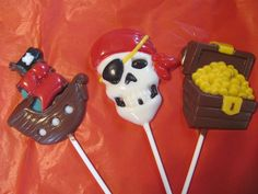 Pirate ship, pirate skeleton and treasure chest chocolate lollies