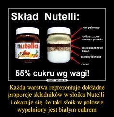 Każda warstwa reprezentuje dokładne proporcje składników w słoiku Nutelli i okazuje się, że taki słoik w połowie wypełniony jest białym cukrem – Man Humor, Good To Know, Nutella, Fun Facts, Detox, Life Hacks, Health Fitness, Food And Drink, Funny Memes