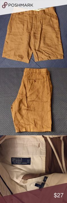 """Men's RL Polo Linen Shorts Men's Ralph Lauren Polo Camel color shorts, Sz 36 with an 11"""" inseam.   100% Linen; Flat Front.   Excellent, like new, Condition!  I'm not sure if my husband has ever worn these because they show no signs of wear!    All my items are from a smoke free home and offers are always welcome! Polo by Ralph Lauren Shorts"""