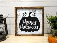 "Are you looking for a sold built fall wood sign? This ""Happy Halloween"" custom pumpkin wood sign is perfect to hanging on your door or on a shelf with your favorite Rae Dunn pottery! It also makes a great gift to that new neighbor down the street, or for Fall Decor Signs, Fall Wood Signs, Fall Signs, Rustic Signs, Fall Home Decor, Rustic Decor, Holiday Decor, Halloween Wood Signs, Halloween Pumpkins"
