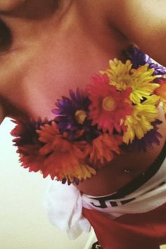 flowery bra abc party idea Abc Party Costumes, Sexy Halloween Costumes, Halloween Stuff, Halloween Ideas, Costume Ideas, Halloween Party, Theme Parties, Party Themes, Party Ideas
