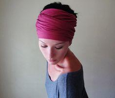 RASPBERRY Head Scarf  Matte Jersey Fuchsia Hair Wrap  by EcoShag, $21.00