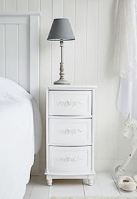 range of white bedside cabinets from the white lighthouse bedroom furniture