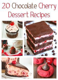 Chocolate desserts are the best, but they are even better with cherries. If you love chocolate and cherries, then check out these 20 Chocolate Cherry Dessert Recipes. Featuring cherry cupcakes, chocolate cherry cookies, chocolate cherry cheesecake brownies, cherry chocolate chip cake, chocolate covered cherries, chocolate cupcakes with cherry frosting, cherry chocolate ice cream, cherry cordial chocolate skillet cookie, dark chocolate cherry fudge, chocolate cherry bars and more!