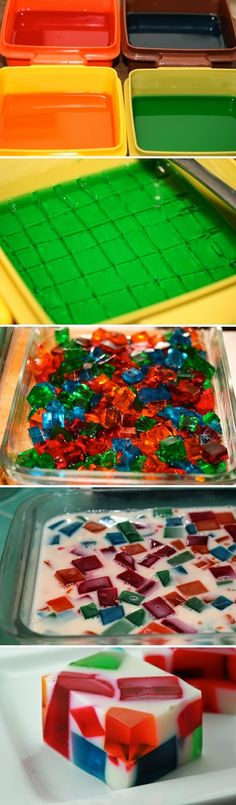 ngredients : 4 small boxes of jello (3 oz), different colors 1 can sweetened condensed milk  2 envelopes unflavored gelatin water