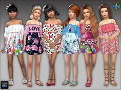 Summer dresses and hair bows for girls by Mabra at Arte Della Vita • Sims 4 Updates