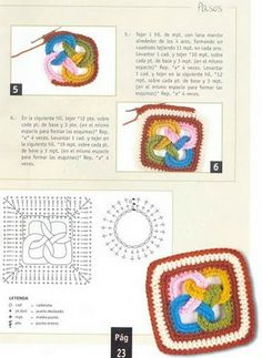 View album on Yandex. Crochet Motifs, Crochet Blocks, Crochet Diagram, Crochet Squares, Crochet Granny, Crochet Doilies, Crochet Stitches, Crochet Patterns, Crochet 101