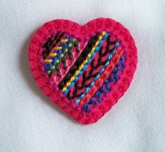 Felt Heart Brooch or Pin  Tiny Hand by heartfelthandiwork on Etsy, $18.50
