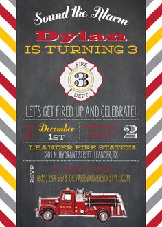 Firetruck Birthday Invitation- Printable. $15.00, via Etsy.