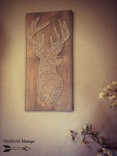Deer Silhouette String Art  sign measures by modvintageinteriors Deer Antler Crafts, Hunting Art, Diy Crafts To Sell, Stringart, Deer Silhouette, Diy Canvas Art, String Crafts, Deer Art, Prego