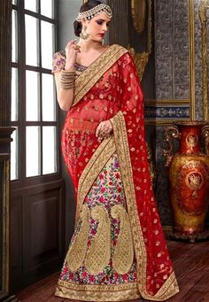 Shop red,beige tafeta silk bridal indian lehenga saree , freeshipping all over the world , Item code Lehenga Style Saree, Indian Lehenga, Sarees, Sharara Suit, Beautiful Saree, Festival Wear, Designer Wear, Party Wear