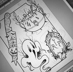 of Tattoo Designs & Ideas - TattooMeNow - Tattoo Gallery, Lettering, Photos & Halloween Drawings, Halloween Art, Halloween Themes, Halloween Tattoo Flash, Halloween Decorations, Halloween Costumes, Future Tattoos, Love Tattoos, Body Art Tattoos