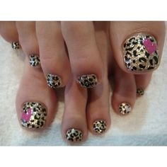 Leopard Gold Toe Nails with Pink Heart