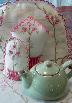 <3   soft green teapot and embroidered egg and tea cozy and napkin: I love the linens!!