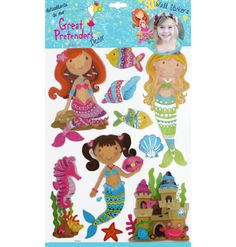 These wall stickers are a wonderful way to create a magical underwater feel to a bedroom or playroom. Comes with pretty mermaids, seahorses, colorful fish, seashells, and a sand castle with a smiling crab right outside. 3d Wall Decals, Wall Stickers, Pretty Mermaids, Mermaid Gifts, Building For Kids, Colorful Fish, Party Gifts, Sea Shells, Gifts For Kids