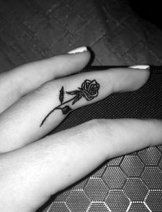 Rose tattoo on the inside of your finger #rose #tattoo #fingertattoo…