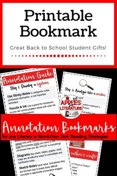 These annotation bookmarks work for any fiction or nonfiction text. Great Back to School gifts for your students!