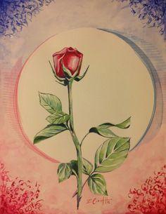 """"""" Una Rosa Rossa per Te """"                     Acquarello e  Matite su Cartoncino          32 X 41"""