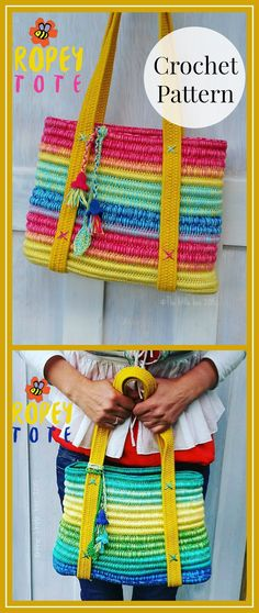 The Ropey Tote is a fun, sturdy bag made from yarn, rope & webbing. Crochet Bag Pattern ~ Instant Download ~ Ropey Tote -PDF pattern #crochet #pattern #tote #affiliate #bag