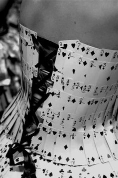 Wearable art. Dress made from playing cards.