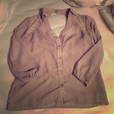Tan draped back sheer/lace button up Lace details on shoulders/back - open draped back! Charlotte Russe Tops Button Down Shirts