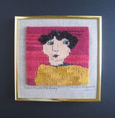 Haunting Memory handwoven tapestry portrait by RuthManningTapestry
