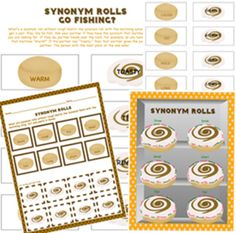 Synonym Rolls Go Fishing? Game & Activity Printables. You can change to fit your classroom needs.