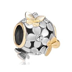 Italian European Style Bracelet Charm Bead Gray Wolf with Fall Background