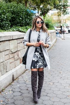 DAKOTAH small flap crossbody Piperlime dress keepsake the fifth label coat Furthest Thing grey oversized coat joie Olivia over the knee boots gray coach bag nordstrom leith 47mm filigree sunglasses jcrew necklace floral dress what to wear in the fall nyc fashion blogger what to wear gray layers