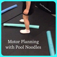Planning with Pool Noodles Motor planning activity using some cut up pool noodles. Quick, easy and a fun challenge.Motor planning activity using some cut up pool noodles. Quick, easy and a fun challenge. Gross Motor Activities, Movement Activities, Gross Motor Skills, Sensory Activities, Therapy Activities, Physical Activities, Dementia Activities, Proprioceptive Activities, Physical Play