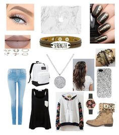 """Untitled #13"" by tyler-elizabeth on Polyvore featuring DbDk, True Religion, Solid & Striped, JanSport, Yves Saint Laurent, Olivia Burton, Charlotte Russe, Jeffree Star and Good Work(s) Make A Difference"