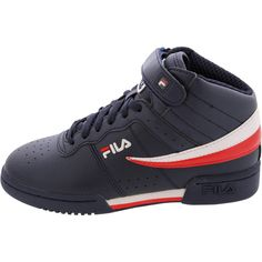 - Synthetic upper in navy with white - Mid cut construction - Lace up with adjustable velcro strap with hook and loop closure - Padded collar and tongue - Soft fabric lining - Cushion insole and footb