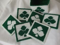 Vintage Yard and Plastic Canvas coaster by rosiesrecycledcrafts
